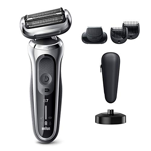Braun Electric Razor for Men, Series 7 7027cs 360 Flex Head Electric Shaver with Beard Trimmer, Rechargeable, Wet & Dry with Charging Stand and Travel Case