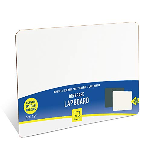 Dry Eraser Learning Board Wipe Off Lapboards, Reusable, Durable, Portable Whiteboard with Single Side - 9 X 12 Inches Small White Board for Students, Kids Drawing, Classroom (1 Pack)
