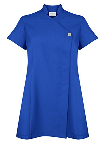 ProLuxe Bata con botón Exclusiva para salón de Belleza, peluquería, salón de Masaje, salón de Terapia, SPA, clínica médica o salón de uñas, Disponible en 9 Colores - 34 - Azul Cobalto