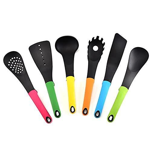 Qiujing 6 unids/set utensilios de cocina de silicona Utensilios de cocina Set antiadherente utensilios de cocina herramientas fáciles de limpiar
