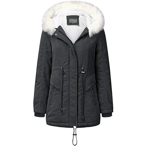 Voicry Parka Damen Winterjacke Kunstfell wasserdichte Wintermantel Warm Revers Reißverschluss Lange Trenchcoat Jacke Outwear (Grau,XL)