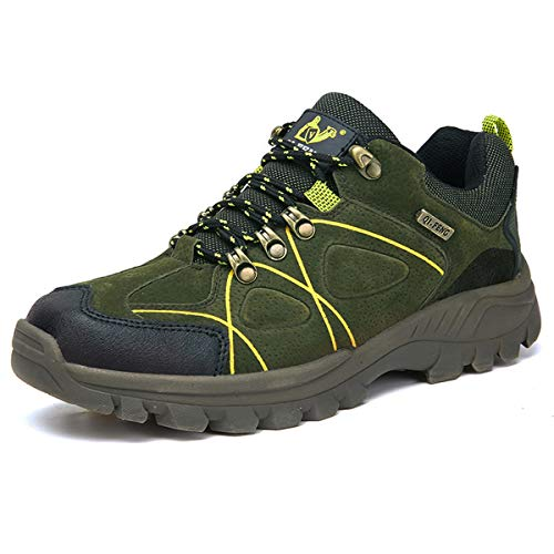 Hsyooes Outdoor rutschfest Schuhe Sport Sneakers für Herren Damen Trekking und Wanderschuhe,Grün 1,41 EU
