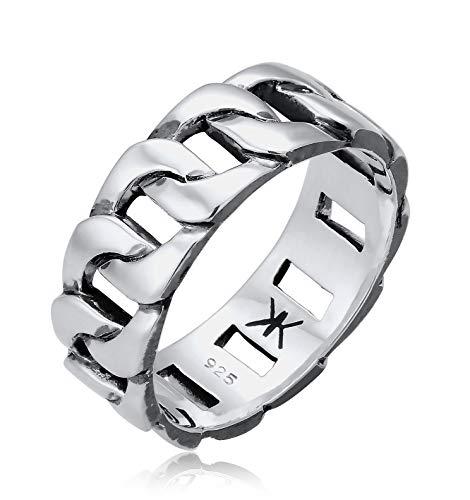 Kuzzoi Massiver Herrenring(8mm) im Panzer Design schwarz oxidiert, Bandring für Männer aus 925 Sterling Silber, Ring im Chunky Chain Look, Ringgröße 60, 0608382919_60