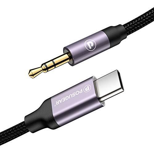 POSUGEAR Cable USB C a Jack 3.5 mm,Tejido de Malla de Algod�