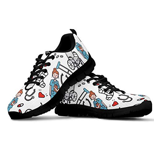 POLERO Nurse Zapatilla de Deporte Mujer Zapatillas Casual Zapatillas De Enfermera Zapatos para Correr con Cordones Zapato Plano para Caminar Zapatillas De Tenis De Malla, Talla 39