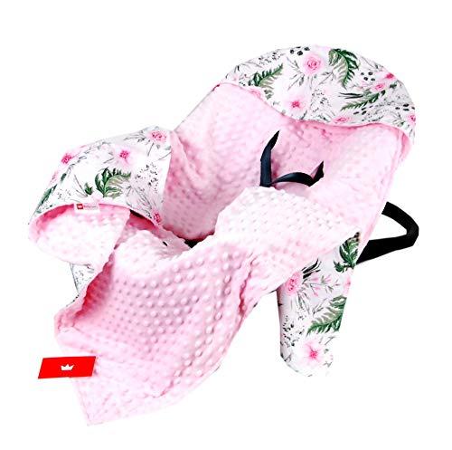 BabyLux Baby EINSCHLAGDECKE 90x90 cm Babyschale Kinderwagen Buggy Minky Decke (13. Rosa + Wilde Blüten)