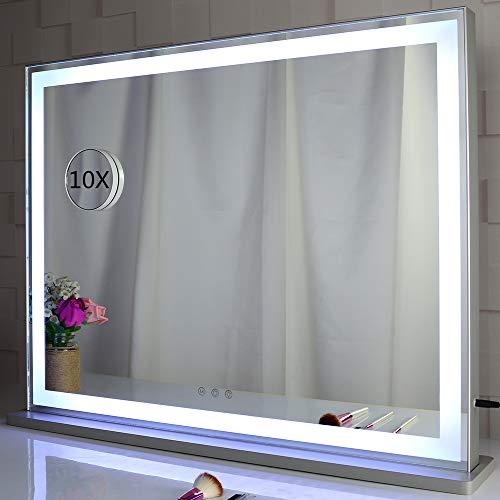 BEAUTME Espejo de tocador con luces LED retroiluminadas, espejo de maquillaje Hollywood para vestidor y dormitorio, 3 modos de color con atenuador, plateado (L28.3 x H22.5 cm)