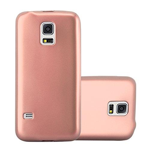 Cadorabo Hülle für Samsung Galaxy S5 Mini / S5 Mini DUOS in METALLIC Rose Gold – Handyhülle aus TPU Silikon im Matt Metallic Design - Silikonhülle Schutzhülle Ultra Slim Soft Back Cover Case Bumper