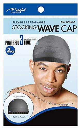 Magic Stocking Wave Cap Pack 2 Caps Black Hair Du Rag by MAGIC