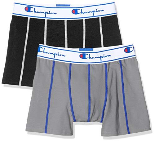 Champion Herren Boxershorts Coton (2er Pack), Mehrfarbig (Gris/Noir 8Md), Small