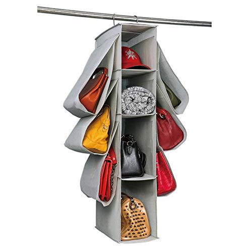 DIMJ Handtasche Organizer Hängend 10 Fächer Aufbewahrungstasche für Kleiderschrank Hängender Stoffschrank Taschen Taschenhalter für zum Aufhängen im Kleiderschrank Wohnzimmer Schlafzimmer Hause Grau