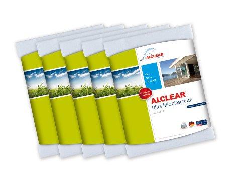 ALCLEAR 5er Set Microfaser Fenstertuch - ideal als Scheibentuch zum Putzen u. Reinigen von Auto, Haushalt, Fenster & Chrom - 40x45 cm