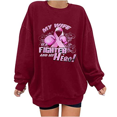 Wave166 Campaña de sensibilización para el cáncer de mama Rosa Ribbon camiseta estampada de manga larga cuello redondo monocolor moda casual sudadera para mujer, rojo, XL
