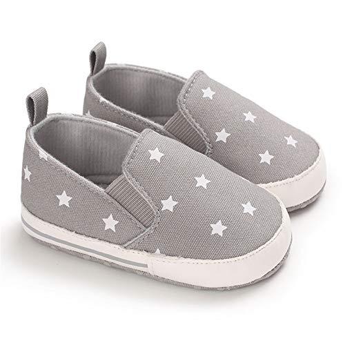 Meckior Zapatos de lona para bebés y niñas, suela suave, para niños y niñas, negro (K/Gris), 0-6 Meses