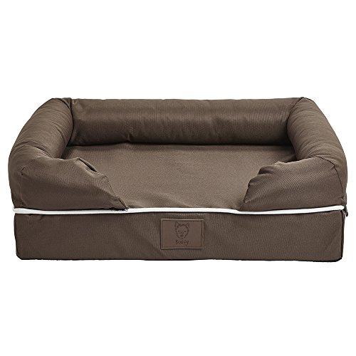 Bunty Perro mascota lavable de espuma suave impermeable cesta colchón cama sofá almohadilla alfombra – marrón – pequeño