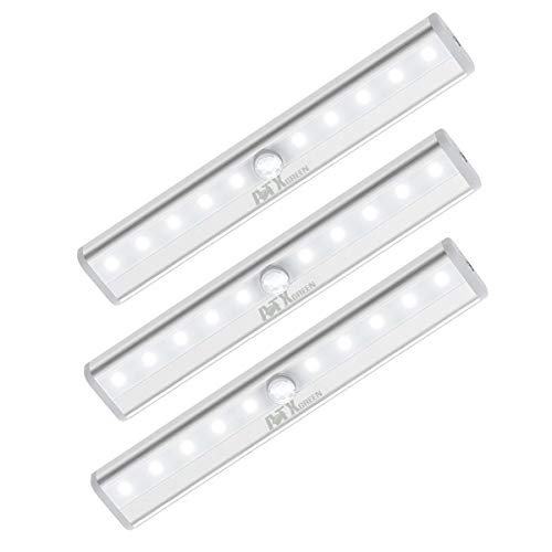 Closet Light, ATXgreen Motion Sensor Night Light (3 Pack)-10 LEDs Homelife Motion Sensor Led Lights Stick-on Anywhere Wireless Magnetic Lights Bar for Stairs Cabinets Closets