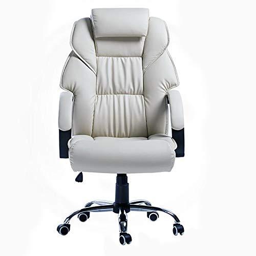 XYGB Executive bureaustoel 360 graden draaibaar kunstleer kantoormeubilair Computer bureau stoel in hoogte verstelbare bureaustoel (crème)