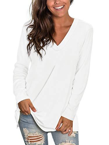 Womens White Long Sleeve Shirt Women V Neck White Shirts for Women Fall Tops L