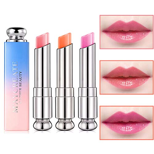 Pack of 3 Crystal Jelly Lipstick, Firstfly Long Lasting Nutritious Lip Balm Lips Moisturizer Magic...