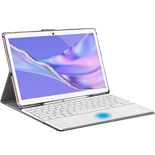 Tablet 10.8 Zoll Android 10.0 Tablet PC, 2 in1 Tablet mit Tastatur 6 GB RAM + 128 GB/512 GB ROM, 2560x1600 FHD IPS, 8000 mAh Deca Core Prozessor, 8 MP+16 MP Dual-Kameras, 5G WiFi Dual SIM Face ID