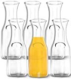 1 Liter Glass Carafe, 6 Pack - Elegant Wine Decanter and Drink Pitcher - Narrow...