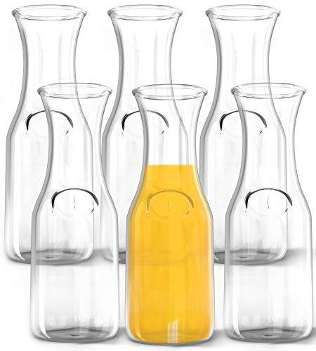 1 Liter Glass Carafe, 6 Pack - Elegant Wine Decanter and Drink Pitcher - Narrow Neck For Comfortable Grip, Wide Mouth For Easy Pouring - Great for Parties and Events – Kitchen Lux