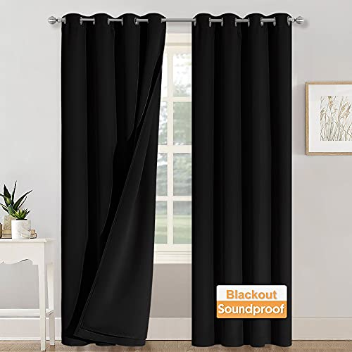 RYB HOME Soundproof Blackout Thermal Insulating 3 in 1 Set Curtains 3 Layers Heavy Grommet Curtains for Bedroom Living Room Divider Curtains Bay Window, Black, 52 x 108 inches, 2 Pcs