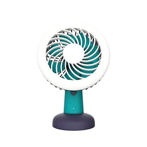 Mini draagbare handheld bureaulamp elektrische ventilator oplaadbaar voor studie kantoor bibliotheek blauw