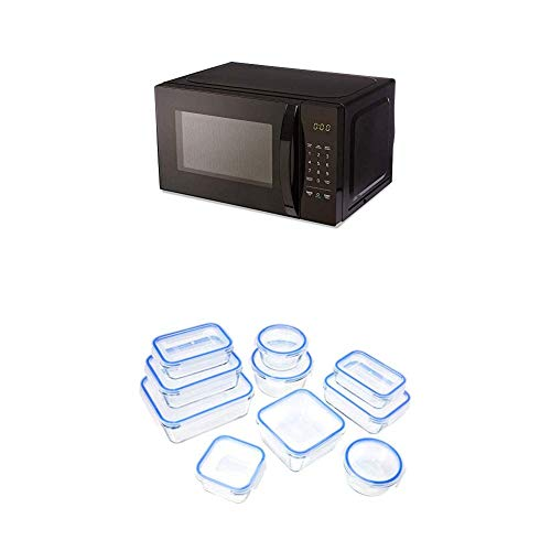 AmazonBasics Microwave + Glass Locking Food Storage Containers (20-Piece Set)