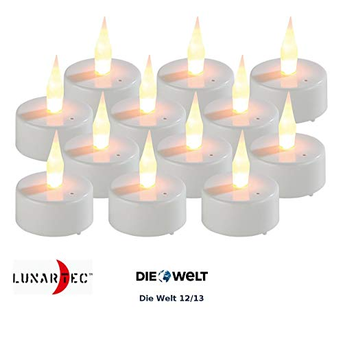 Lunartec Kleine LED-Teelichter: 12er-Set LED-Teelichter mit Luftzugsensor und beweglicher Flamme (Teelichter mit Batterie)