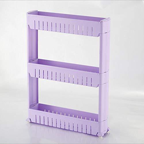 1 / pcs lücke küche lagerregal regal schlanke rutsche turm beweglich montieren kunststoff bad regal räder raum 3 schichten hohe qualität (Color : Purple)