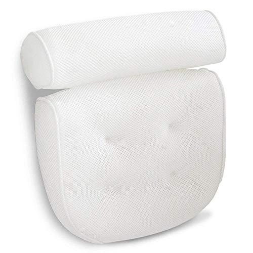chenyikan Badekissen 3D Grid wasserdichte Whirlpool-Matte mit großem Saugnapf | Weiches Kopfstützen-, Nacken- und Rückenpolster für Ihre Badewanne