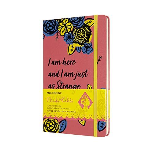 Moleskine 8056420853537 Cuaderno Edición Limitada Frida Kahlo, Cuaderno con Páginas Blancas, Tapa Dura y Cierre Elástico, Tamaño Grande A5 de 13 x 21 cm, Color Rosa, 240 Páginas