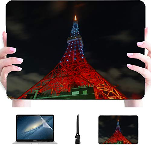 MacBook 2018 Case Asia Japan Tokyo Tower Plastic Hard Shell Compatible Mac Air 13' Pro 13'/16' Cover for Laptop Protective Cover for MacBook 2016-2020 Version