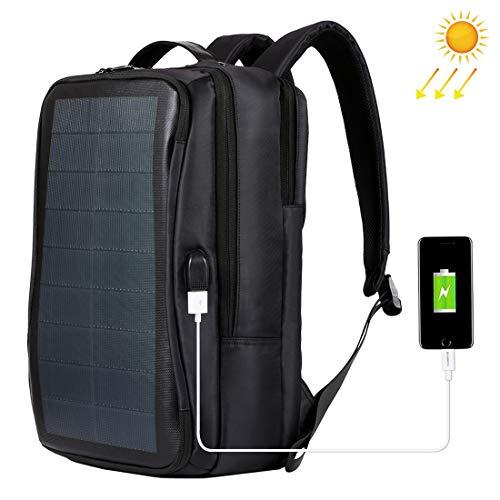 HAWEEL Mochila Solar, Multifuncional al Aire Libre de Gran Capacidad Panel Solar de energía cómoda cómoda Mochila portátil portátil con asa, Puerto de Carga Externo USB (Negro)