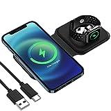 Estación de carga inalámbrica, YOMENG Cargador inalámbrico magnético dual plegable de 15 W para iPhone 12/12 Pro/12 Mini/11 Pro Max/X/XS/XR, Galaxy S21/S20 iWatch Series 6/5/4/3/2/1(negro)