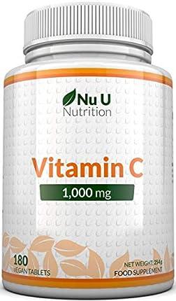 Vitamina C   1000 mg - 180 Comprimidos (Suministro para 6 Meses)   Complemento alimenticio de Nu U Nutrition