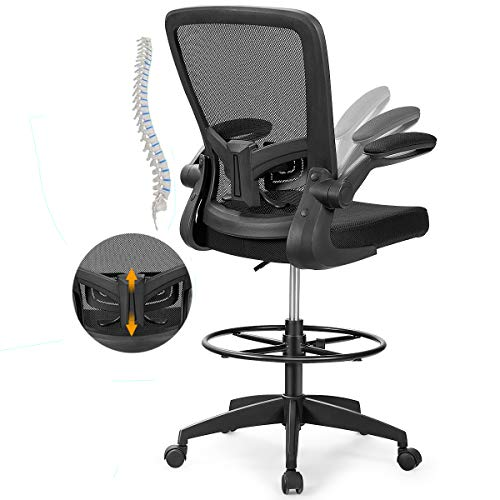 POWERSTONE Drafting Chair Ergonomic Office Chairs Stool High Back Adjustable Height Rolling Swivel Computer Task Chair Breathable High-Density Mesh Desk Chair with Executive Lumbar Support