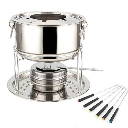 Fonduta Pentola Calda in Acciaio Inossidabile Pentola Set Fonduta in Ghisa per 4 Persone con Bruciatore e Forchette Quantità Kitchen Craft Set per Fonduta