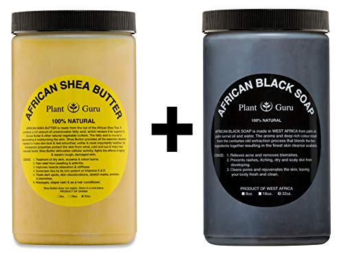 Raw African Shea Butter Yellow and Black Soap 2 lbs / 32 oz Each Bulk Combo Set Unrefined Grade A 100% Pure Natural From Ghana For Skin Body and Hair Growth. Aids Eczema, Psoriasis And Stretch Marks.