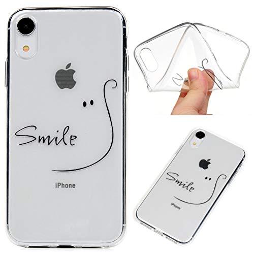 Hülle Case Kompatibel mit iPhone XR Handyhülle Durchsichtige Stoßfest Schutzhülle Tasche Handytasche Handyschale TPU Silikon Rückhülle Schale Anti-Shock Backcover Etui Cartoon Linie