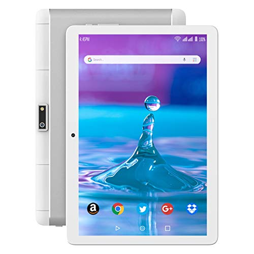 Tablet 10 Inch, 3G Phone Tablets with 32GB Storage, Android 10.0 Tablet PC, Dual SIM Card Slots, Quad-Core 1.5GHz,IPS Full HD Disply, WiFi, Bluetooth, GPS - Silver