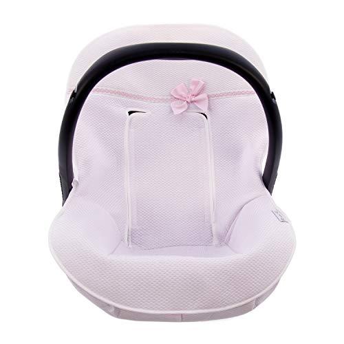 Funda de verano Universal para Silla de coche GRUPO 0 Rosy Fuentes - Colchoneta para Silla de Bebé Grupo 0 - Equipado para ser Ajustado perfectamente - Elaborado en Piqué - Color rosa