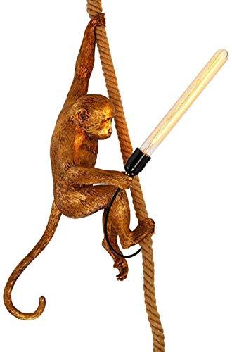 Creative Chandelier, Nordic Monkey Lamp Twine Chandelier Resin Study Bedroom Dining Room Chandelier (Color : Gold)