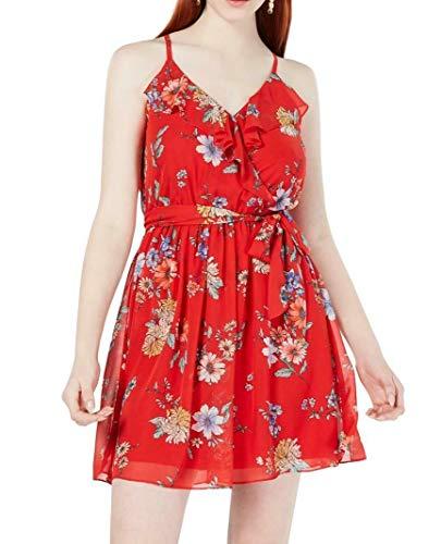 BCX Womens Juniors Floral V-Neck Tank Dress Red XS