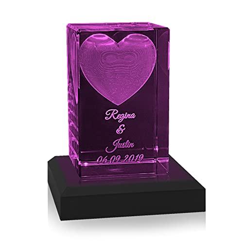 Kristall Glas 3D Herz - Personalisiertes Geschenk für Frauen und Männer - Geschenkidee zum Valentinstag, Hochzeit oder Jahresstag (mit LED Sockel in Schwarz)