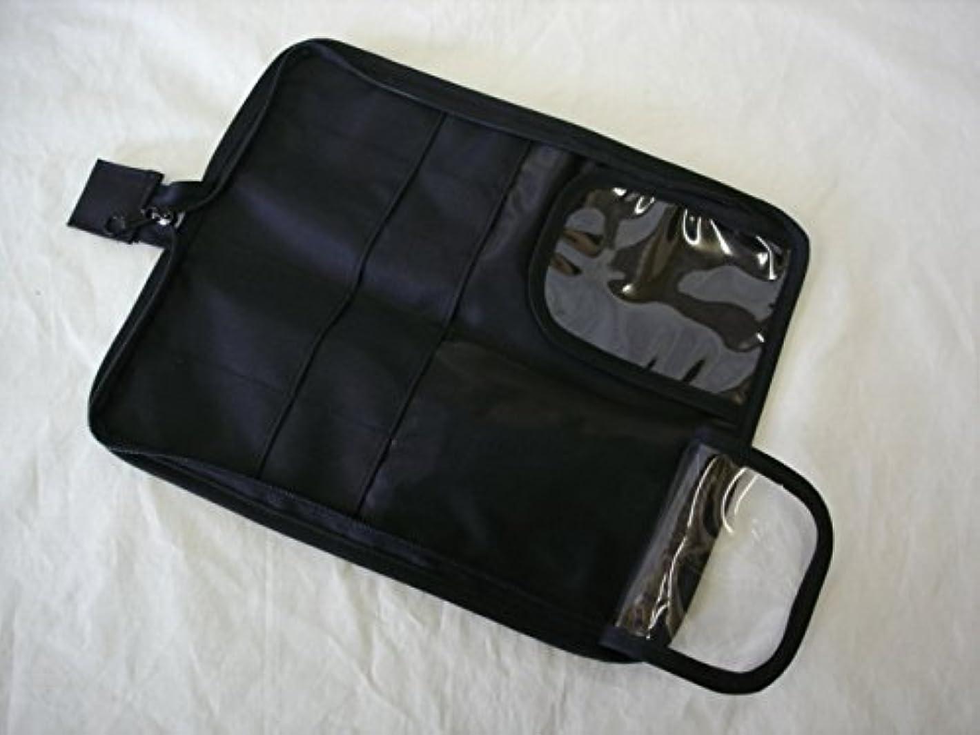 連帯文句を言う拍手日本製 メイクブラシケース10ポケット付ブラック