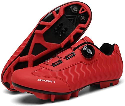 KUXUAN Zapatillas de Ciclismo MTB para Hombre Zapatillas de Bicicleta de Montaña SPD Zapatillas de Bicicleta de Carretera,Red-3.5UK=(230mm)=36EU