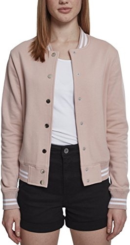 Urban Classics Damen Sweatjacke Ladies College Sweat Jacket,Pink,S