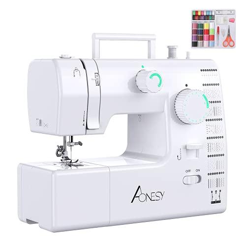 AONESY Machine à coudre pour débutants, légère, complète,59 points de suture,petite machine à coudre électrique avec pédale, enroulement automatique pour vêtements filles et adultes